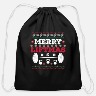 Merry Merry Liftmas Workout Christmas T-Shirt Fitness - Cotton Drawstring Bag