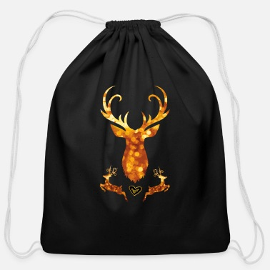 Swagg antler deer christmas xmas glamour gold swagg rich - Cotton Drawstring Bag