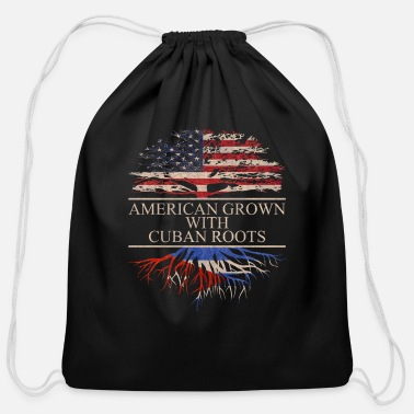 Cuban Roots Design American grown with cuban roots - Cotton Drawstring Bag