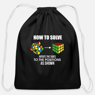 Cube How To Solve Puzzle Cube - Funny Cubing - Cotton Drawstring Bag