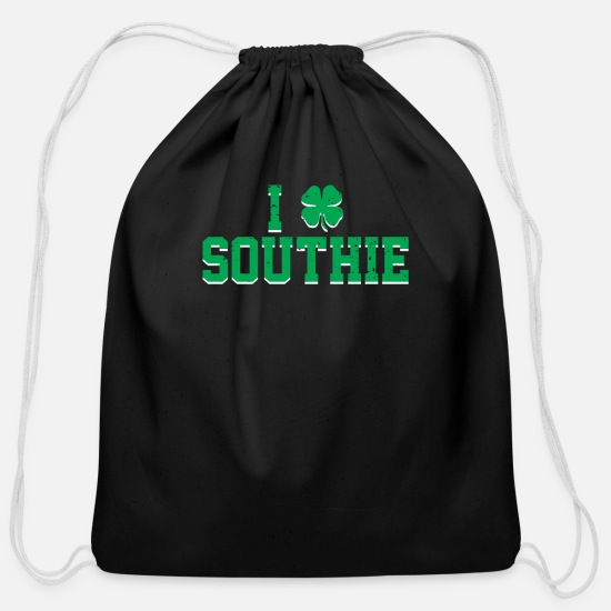 Shamrock Bags & Backpacks - I Shamrock Southie Clover Love Cool St Patrick - Cotton Drawstring Bag black