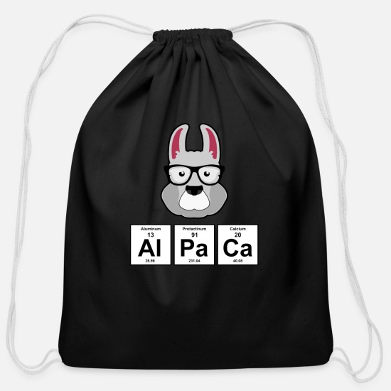 Wool Bags & Backpacks - Alpaca Periodic Table Elements - Cotton Drawstring Bag black