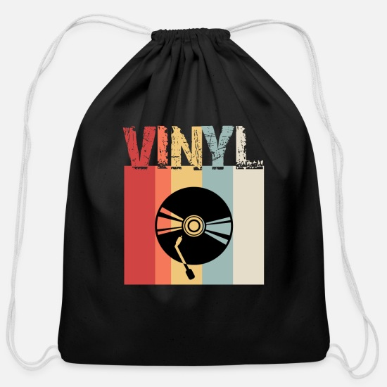 Vinyl Bags & backpacks - Vinyl Shirt, Vinyl Record Shirt, Vintage Record Shirt, DJ Shirt, Record Collect T Shirt - Cotton Drawstring Bag black
