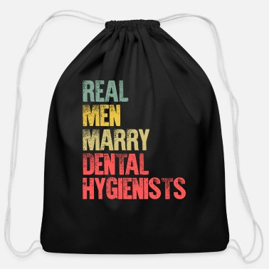 Over Funny Marriage Shirt Real Men Marry Dental - Cotton Drawstring Bag