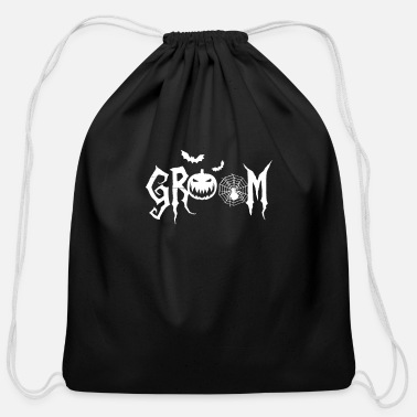 Groom Halloween Groom Pumpkin Spider Funny Matching - Cotton Drawstring Bag