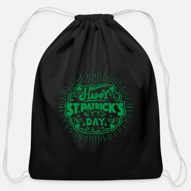 Wear Happy St. Patrick's Day Lucky Clover Gift Idea - Cotton Drawstring Bag