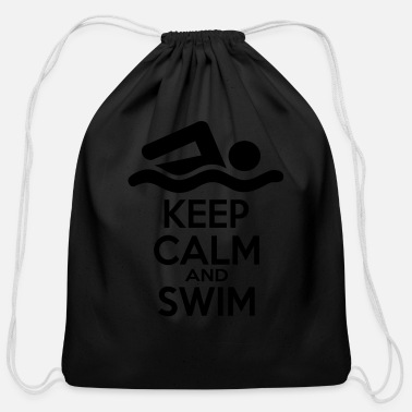 Swim 2541614 16004663 keep calm and swim - Cotton Drawstring Bag