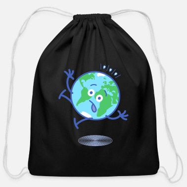 Staring Scared Earth slipping and falling down - Cotton Drawstring Bag