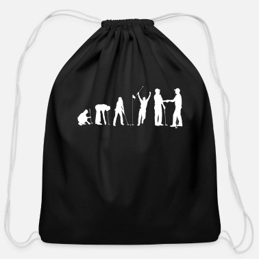 Sportsmanship Human Evolution Golf Sportsmanship - Cotton Drawstring Bag