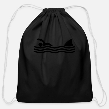 Amusing swimmer with shark - Cotton Drawstring Bag