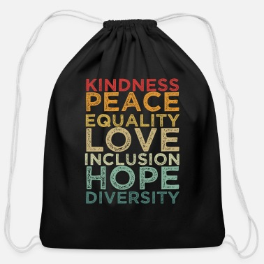 Human Righ Peace Love Diversity Inclusion Equality Human Righ - Cotton Drawstring Bag