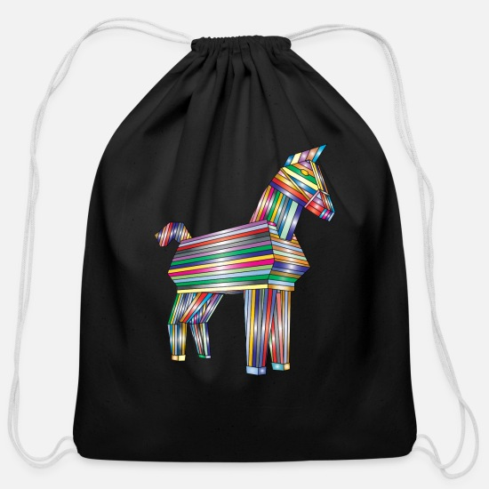 Horse Bags & Backpacks - Trojan Horse Rainbow - Cotton Drawstring Bag black