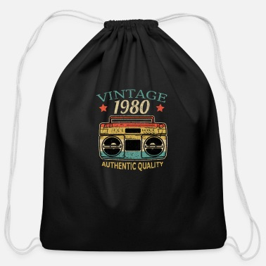 Year Of Birth Vintage 1980 Radio Authentic Quality BDay Gift - Cotton Drawstring Bag