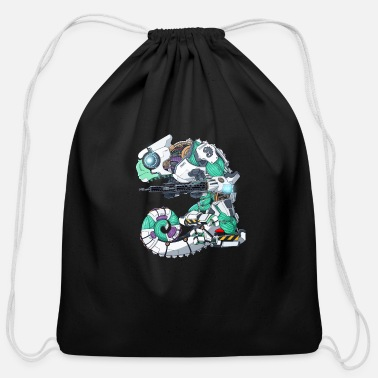 Scifi Cyborg Scifi Chameleon - Cotton Drawstring Bag