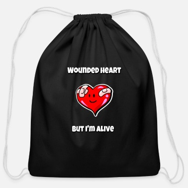 MEME Wounded heart, but I'm alive Valentine's Day - Cotton Drawstring Bag
