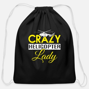 Cute Helicopter Crazy Helicopter Lady T Shirt - Cotton Drawstring Bag