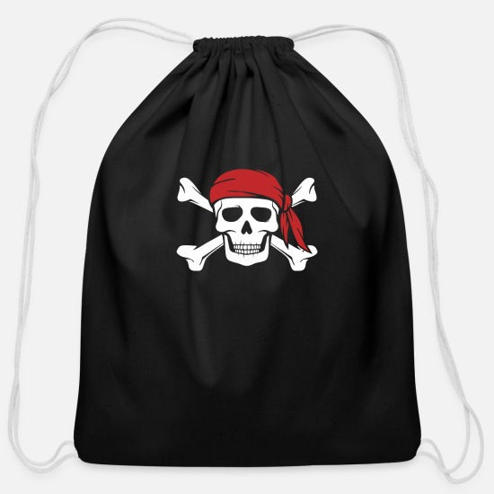 Skull And Crossbones Bags & Backpacks - Skull and Crossbones - Cotton Drawstring Bag black