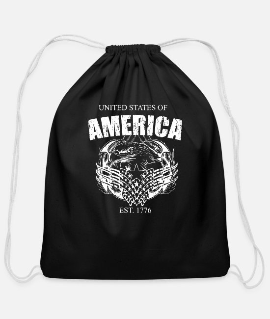 Usa Bags & Backpacks - United States Of America Est 1776 - Cotton Drawstring Bag black