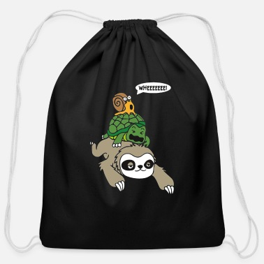 Snail Riding Turtle Sloth Turtle and Snail Piggyback - Cotton Drawstring Bag