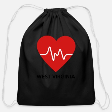 Home Is West Virginia Heart West Virginia - Cotton Drawstring Bag