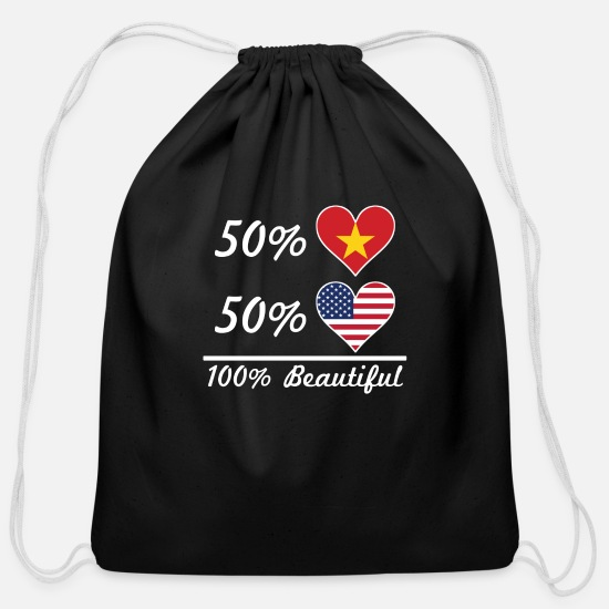 Love Bags & Backpacks - 50% Vietnamese 50% American 100% Beautiful - Cotton Drawstring Bag black