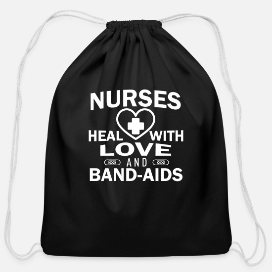 Love Bags & Backpacks - Nurses heal with love - Cotton Drawstring Bag black