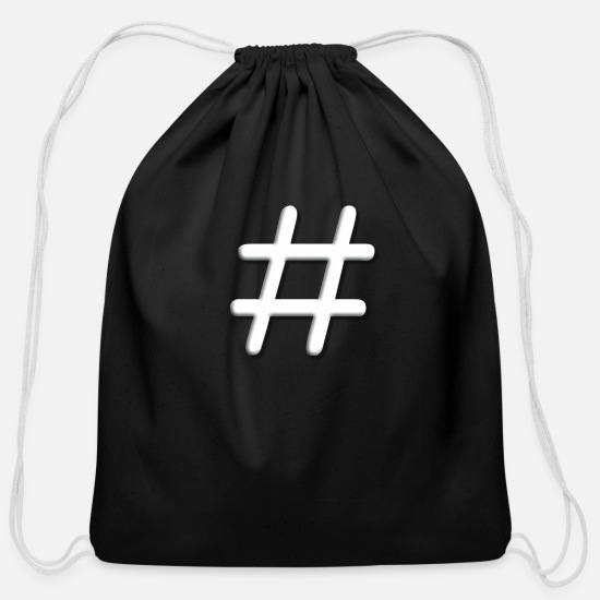 Game Bags & Backpacks - Tic Tac Toe Hashtag - Cotton Drawstring Bag black