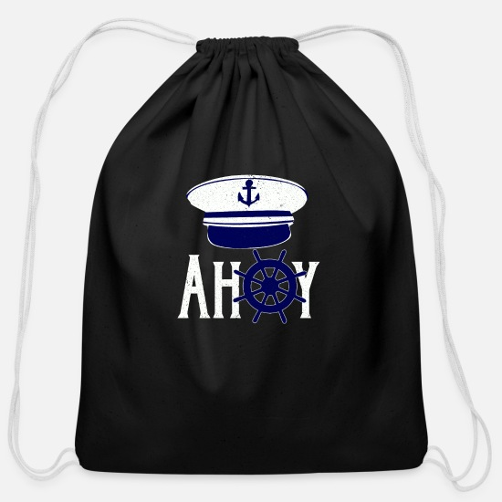 Trend Bags & Backpacks - Ahoy Captain - Cotton Drawstring Bag black