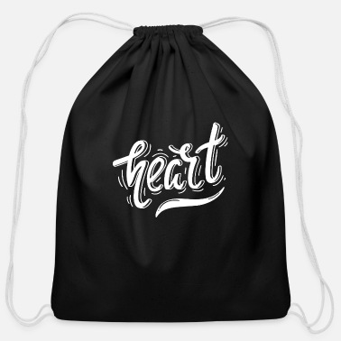 Typography Heart typography - Cotton Drawstring Bag