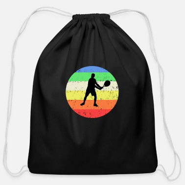Tennis with colored circle background - Cotton Drawstring Bag