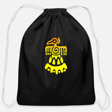 Pyramid Gold Inca Bird Tattoo Gift Idea - Cotton Drawstring Bag