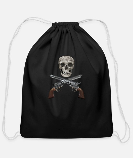Roger Bags & Backpacks - Skull And Crossed Guns. - Cotton Drawstring Bag black