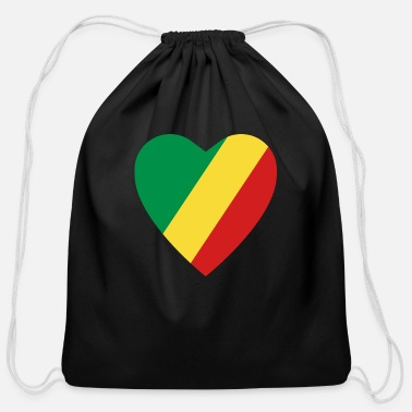 Congolese Girlfriend Congo-Brazzaville Flag Heart - Cotton Drawstring Bag