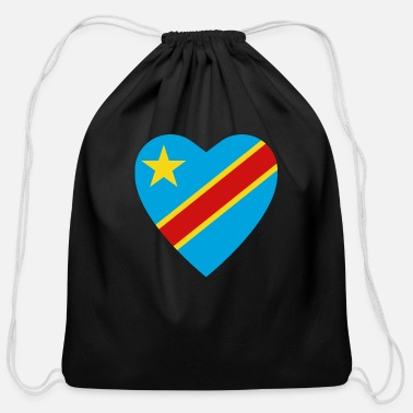Congolese Girlfriend Congo-Kinshasa Flag Heart - Cotton Drawstring Bag