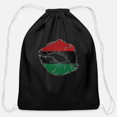 Red Black And Green Red, black, green lips - Cotton Drawstring Bag