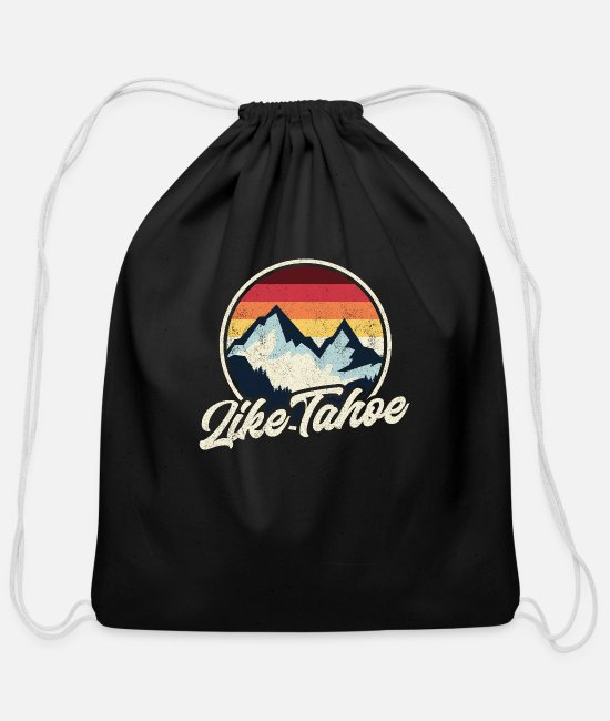 Mountains Bags & Backpacks - Lake Tahoe vintage - Cotton Drawstring Bag black