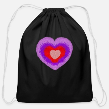 fluffy multi-colored heart - Cotton Drawstring Bag