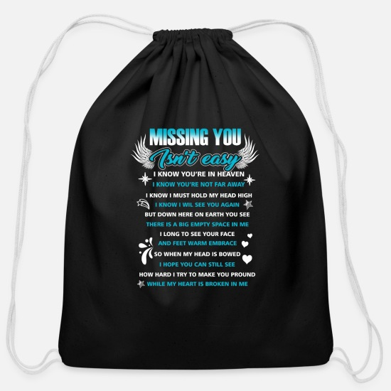 You Bags & Backpacks - Dad- Missing You Isn't Easy - Cotton Drawstring Bag black