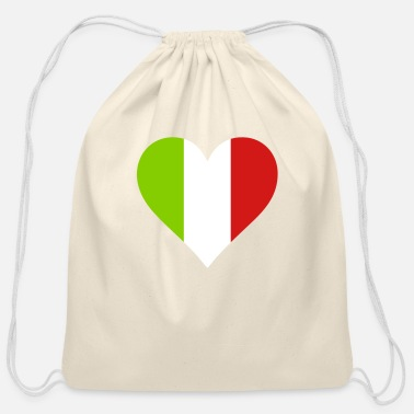Italy Italy Heart Flag - Cotton Drawstring Bag