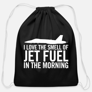 Morning F/A-18 I love the smell of jet fuel in the morning - Cotton Drawstring Bag