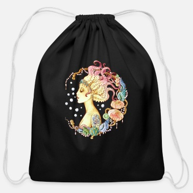 Mythical Collection mermaid tattoo - Cotton Drawstring Bag