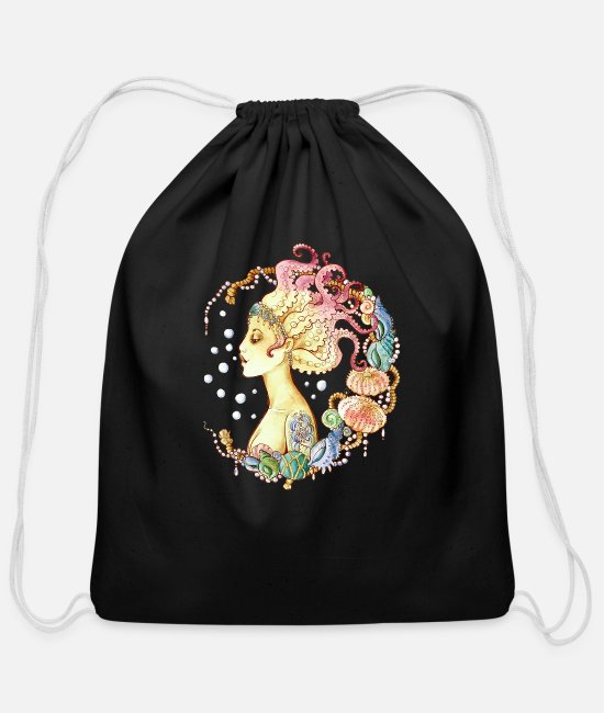 Summer Bags & Backpacks - mermaid tattoo - Cotton Drawstring Bag black