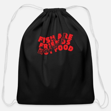Food Fish Are Friends Not Food - Cotton Drawstring Bag