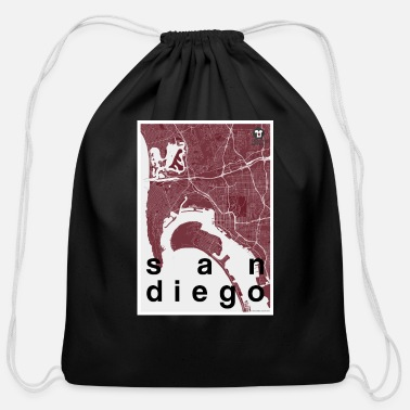 San Diego San Diego hipster city map red - Cotton Drawstring Bag