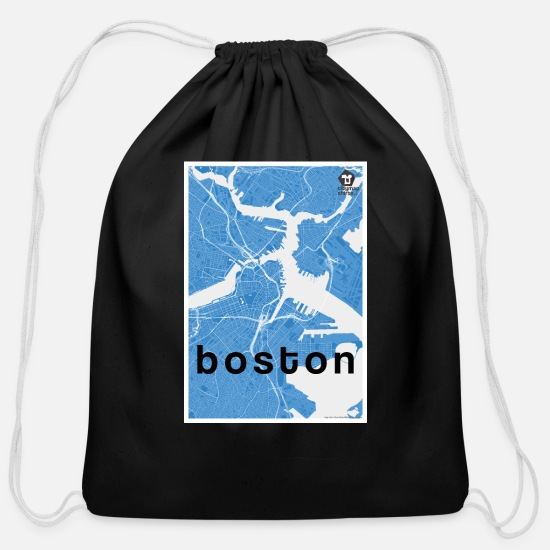 Usa Bags & Backpacks - Boston hipster city map blue - Cotton Drawstring Bag black