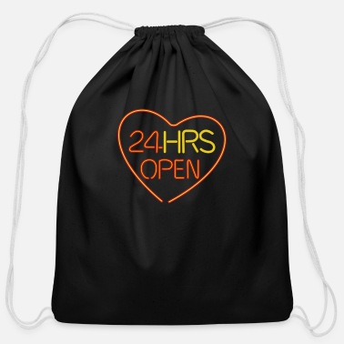 Relationship neon sign: 24 hrs open heart - Cotton Drawstring Bag