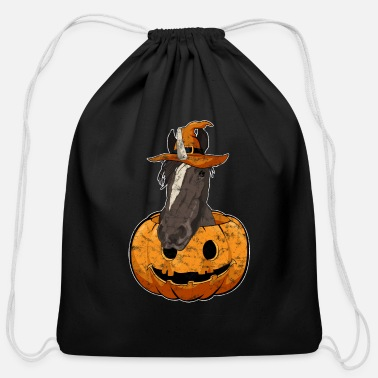 Trick Halloween Pumpkin Cute Witch Unicorn - Cotton Drawstring Bag