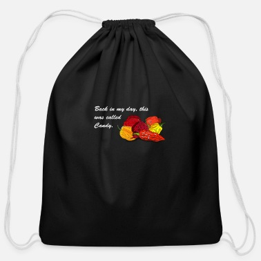 Chili Pepper Back in my day chili pepper spicy food gift - Cotton Drawstring Bag