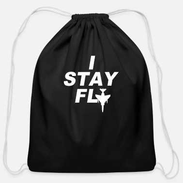 Plane I Stay FLy Swag Fly Airplane Planes Southern Carte - Cotton Drawstring Bag