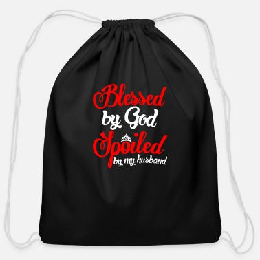 Husband Blessed by god spoiled by my husband - Cotton Drawstring Bag